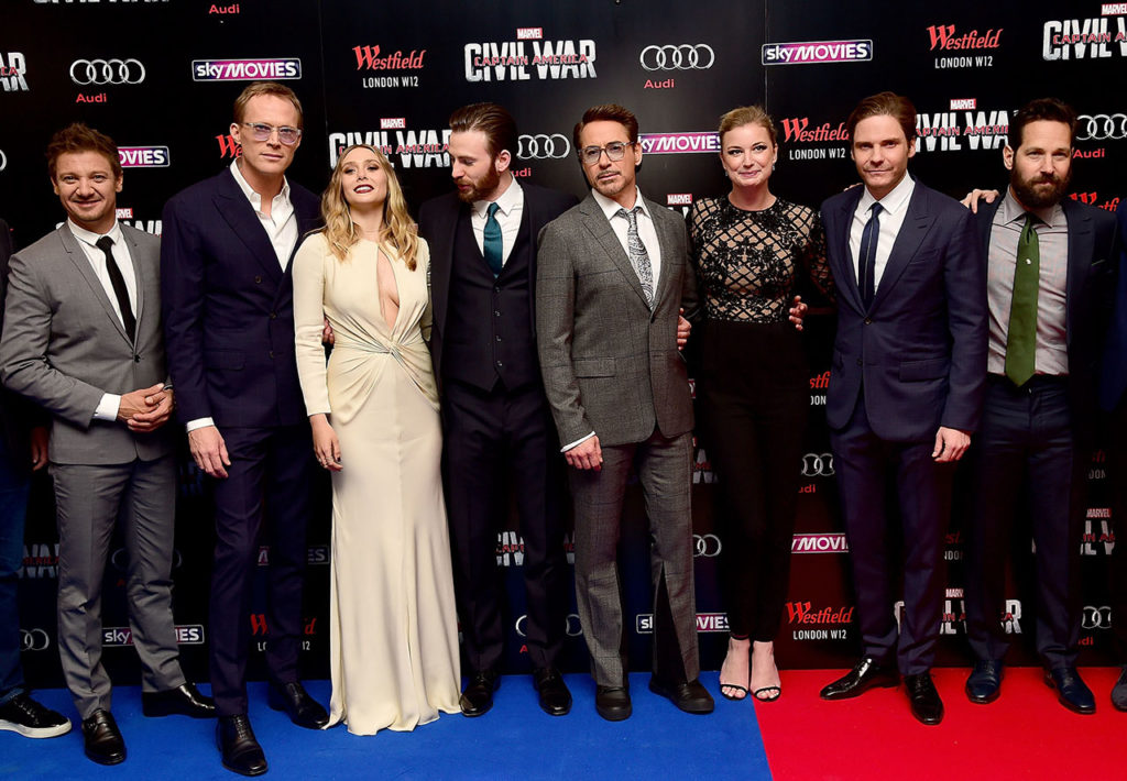 "LONDON, ENGLAND - APRIL 26: (L-R) Jeremy Renner, Paul Bettany, Elizabeth Olsen, Chris Evans, Robert Downey Jr, Emily VanCamp, Daniel Bruhl and Paul Rudd attend the European Premiere of ""Captain America: Civil War"" at Vue Westfield on April 26, 2016 in London, England (Photo by David M. Benett/Dave Benett/WireImage)"